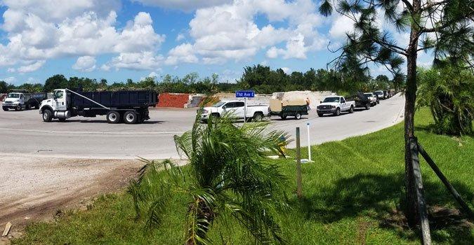 yard waste line after irma, trucks of yard waste, yard debris line