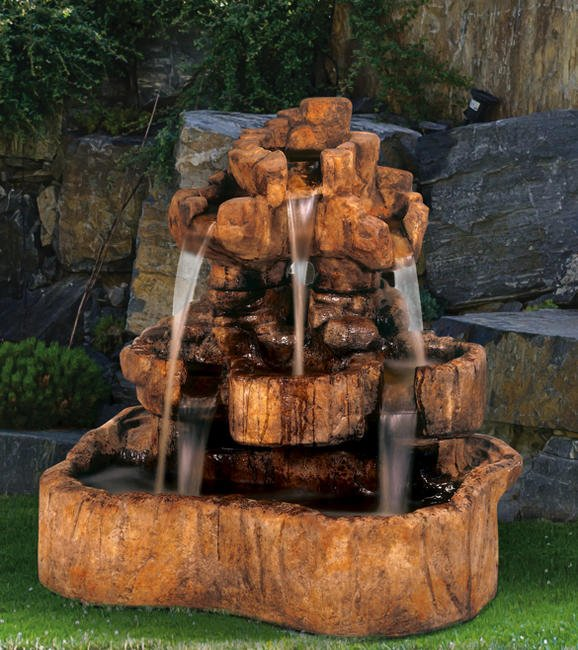 Sarasota Outdoor Fountains, Henri Studio Fountains, Garden Fountains, Medium Rock Falls Fountain, Lido Key Sarasota Fountains In Stock