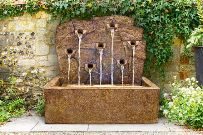 Sarasota Outdoor Fountains, Rock Wall Henri Studio Fountains, Garden Fountains, Rock Wall Fountain, Gulf Gate South Sarasota Fountains