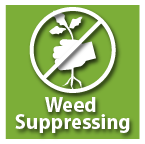 sustainable landscape icon, weed suppression icon, sarasota weed suppressing icon, no weeding icon