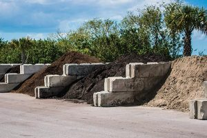 topsoil in bins with potting soil and fill dirt