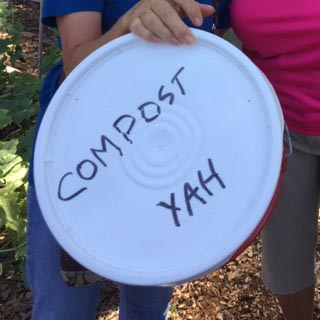 sealed compost bucket with writing, composting bucket, food scraps bucket
